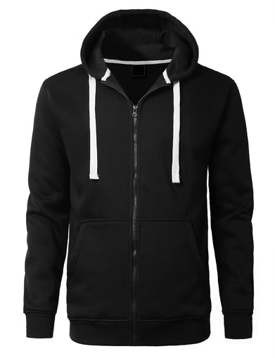 Basic Zip-Up Fleece Hoodie Jacket