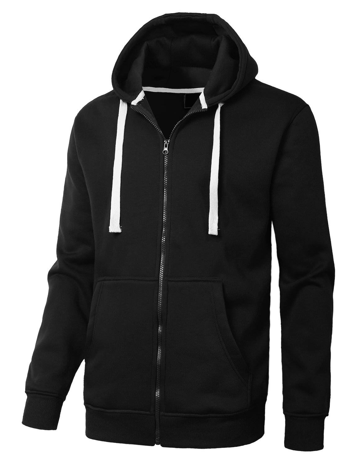 BLACK Basic Zip-Up Fleece Hoodie Jacket - URBANCREWS