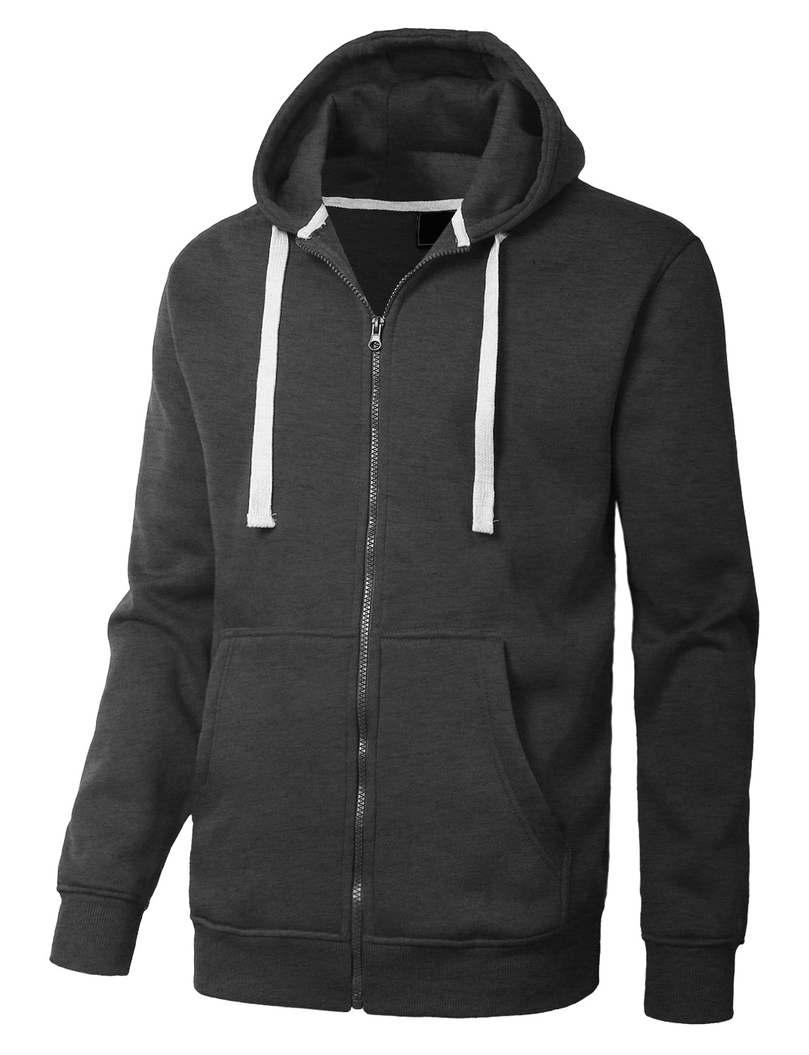 CHARCOAL Basic Zip-Up Fleece Hoodie Jacket - URBANCREWS