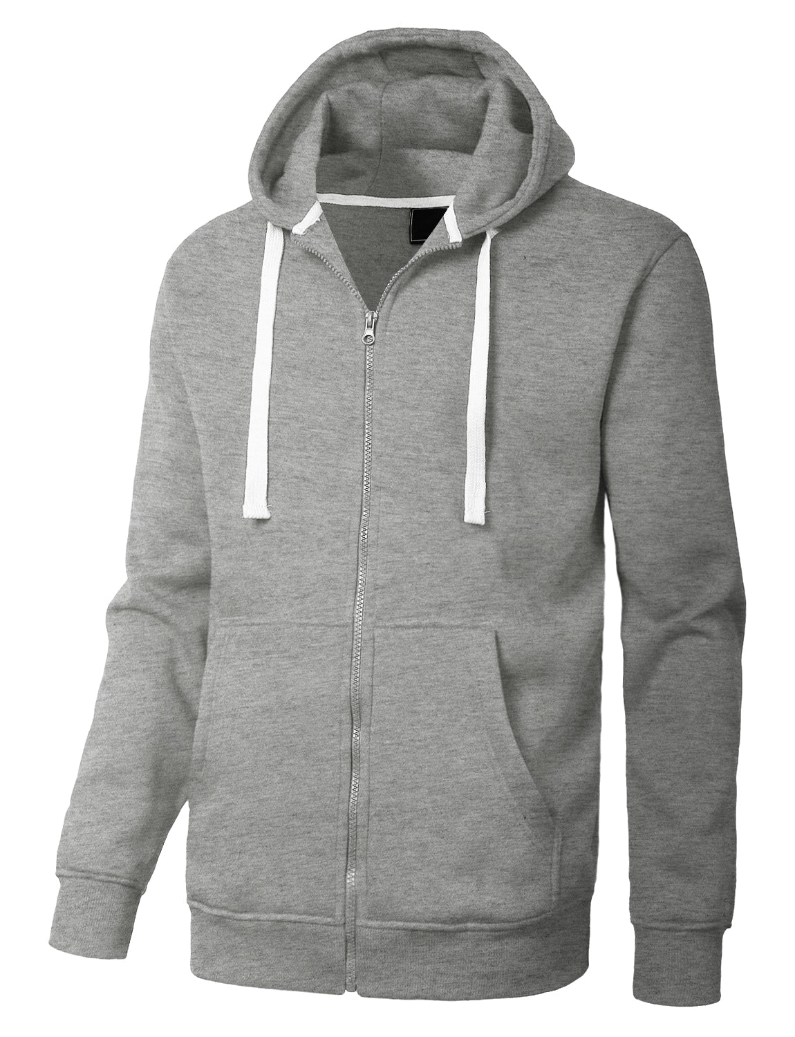 GREY Basic Zip-Up Fleece Hoodie Jacket - URBANCREWS