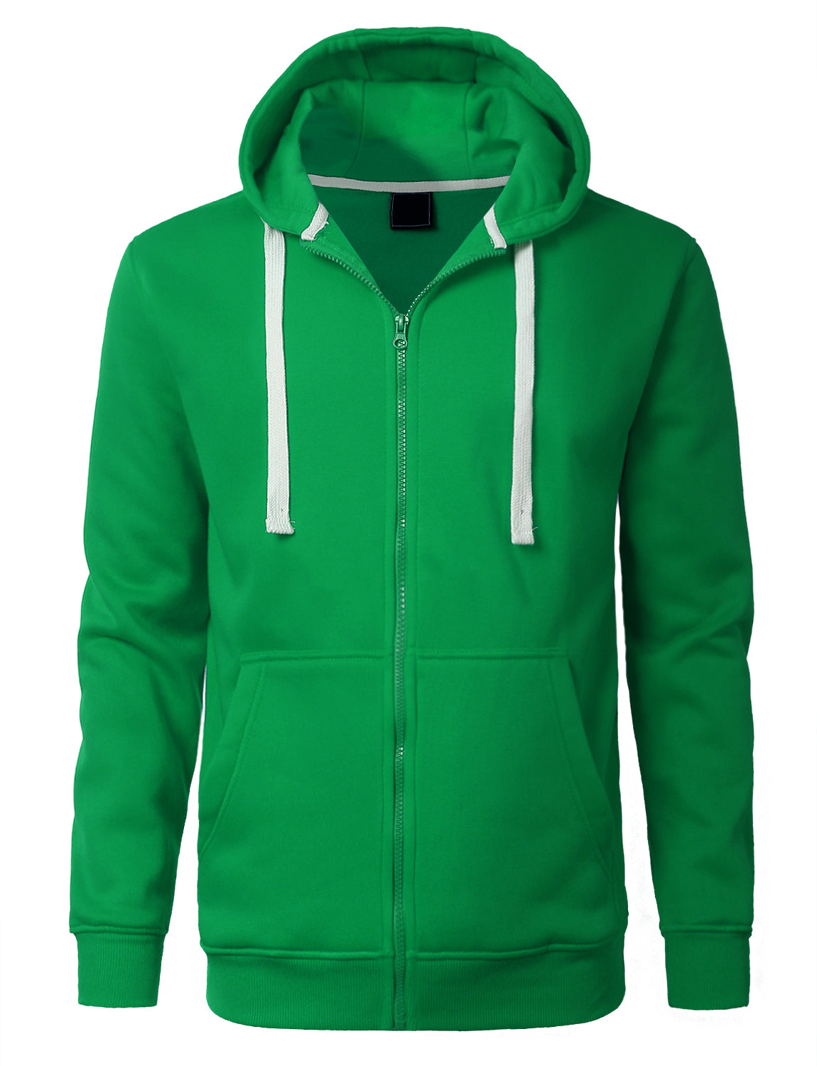 KGREEN Basic Zip-Up Fleece Hoodie Jacket - URBANCREWS