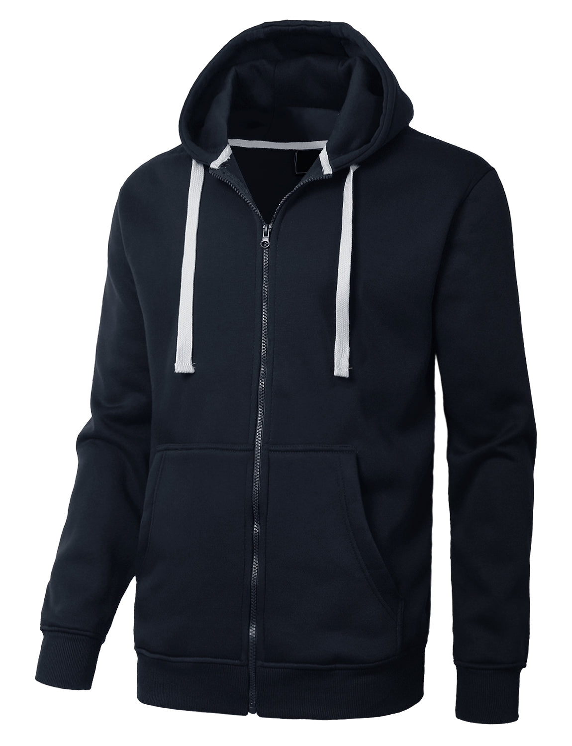 NAVY Basic Zip-Up Fleece Hoodie Jacket - URBANCREWS