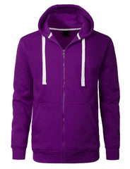 PURPLE Basic Zip-Up Fleece Hoodie Jacket - URBANCREWS