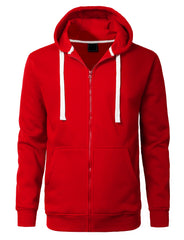 RED Basic Zip-Up Fleece Hoodie Jacket - URBANCREWS