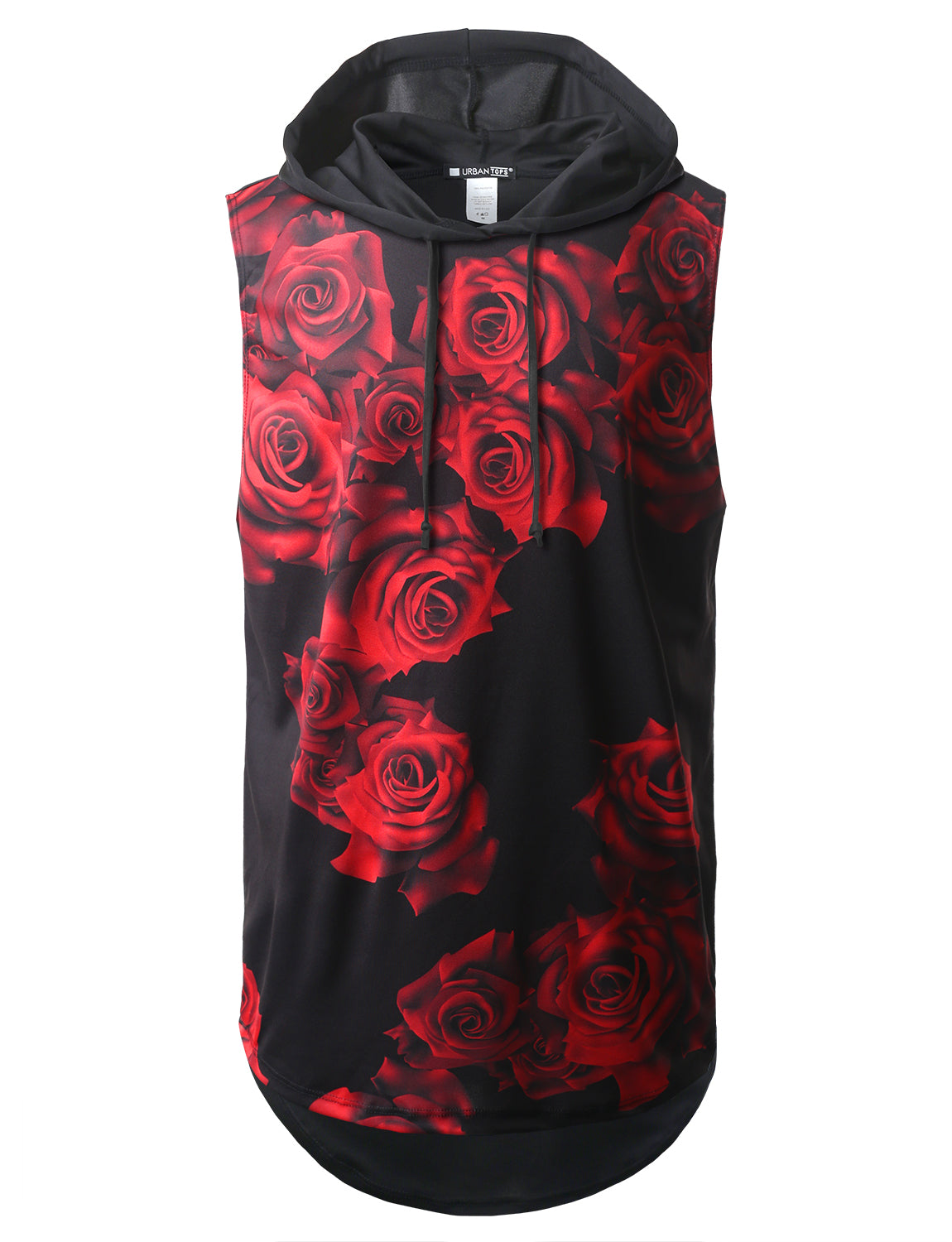 Red Rose Printed Longline Hooded Muscle Tank Top