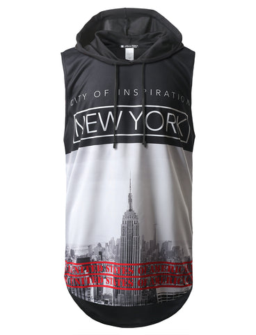 New York City Printed Longline Hooded Muscle Tank Top