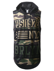 CAMO NYC Printed Longline Hooded Muscle Tank Top