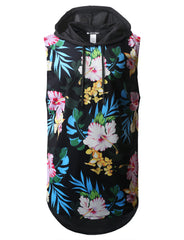 Hawaiian Floral Printed Longline Hooded Muscle Tank Top