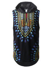 Aztec Printed Longline Hooded Muscle Tank Top