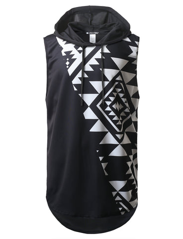 Black and White Aztec Printed Longline Hooded Muscle Tank Top