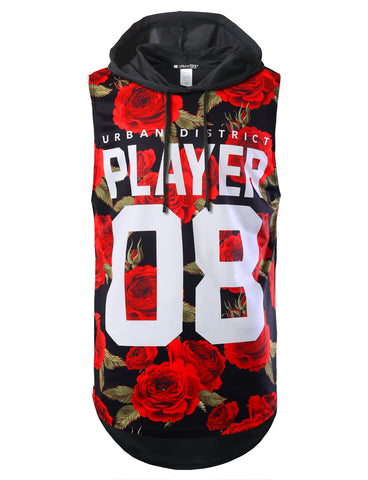 Red Rose Player Longline Hooded Muscle Tank Top