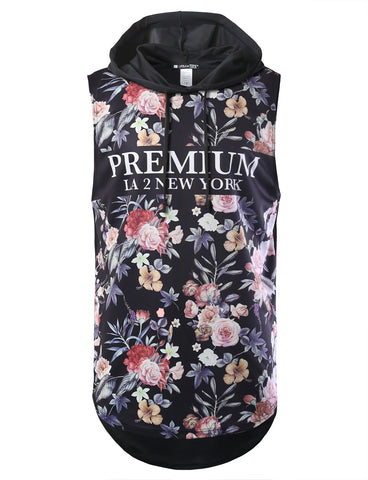 NYC Floral Printed Longline Hooded Muscle Tank Top