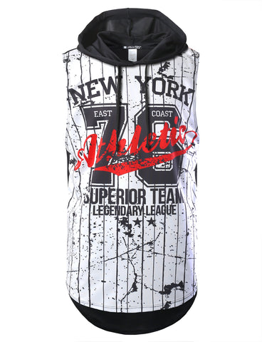 New York Baseball Style Printed Longline Hooded Muscle Tank Top