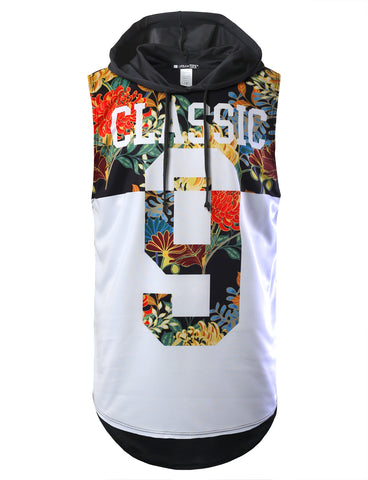 Half Block Floral Classic Printed Longline Hooded Muscle Tank Top