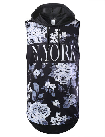 Floral New York Printed Longline Hooded Muscle Tank Top