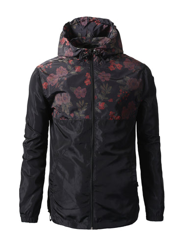 Floral Color Block Full Zip-Up Light Weight Windbreaker Jacket