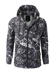 BLACK - BLACK CAMO  Full Zip-Up Water Resistant  Windbreaker Jacket
