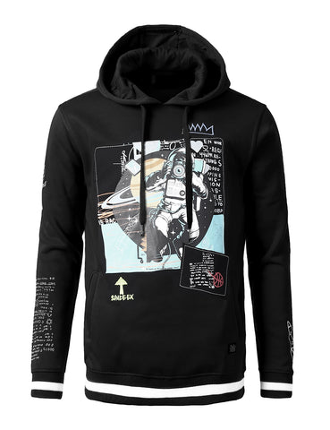 Space Man Print Patched  Print Patched Hoodie - BLACK