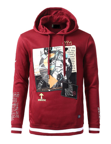 Space Man Print Patched Hoodie - BURGUNDY