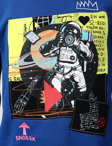Space Man Print Patched Sweatshirts - ROYAL