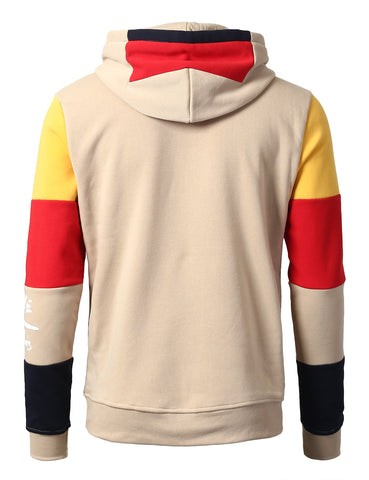 "Color Blocked ""Real G's Printed Fashion Hoodie - SAND"