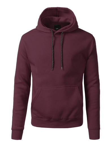 Basic-Pullover-Fleece-Hoodies - BURGUNDY