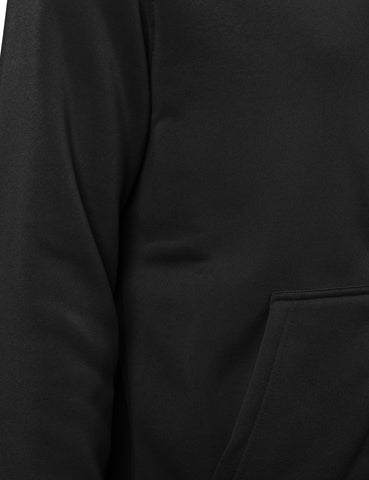 Basic-Zip Up-Fleece-Hoodies -BLACK