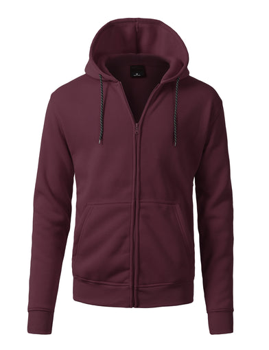 Basic-Zip Up-Fleece-Hoodies - BURGUNDY
