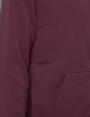 BURGUNDY Basic Zip Up Fleece Hoodie - URBANCREWS