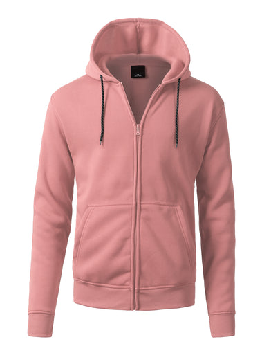 Basic-Zip Up-Fleece-Hoodies - PINK