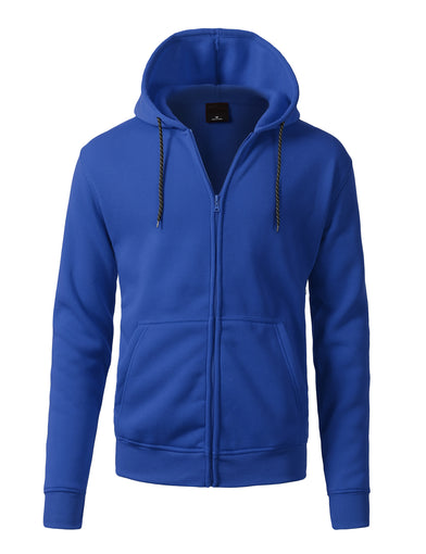 Basic-Zip Up-Fleece-Hoodies - ROYAL BLUE