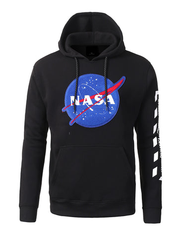 NASA Logo Chenille Patched Pull Over Fashion Fleece Hoodie
