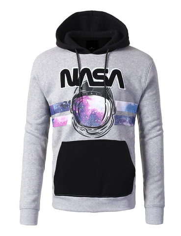 NASA Spaceman Chenille Patched Pull Over Fashion Fleece Hoodie