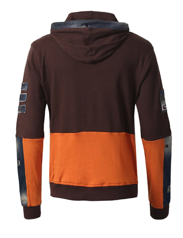 "Denim Patched Owl ""Tootsie Roll"" Pull Over Fashion Fleece Hoodie -BROWN"