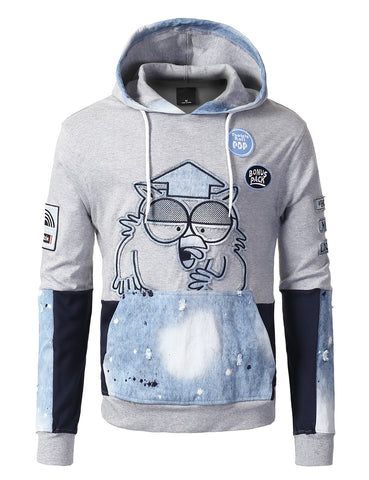 "Denim Patched Owl ""Tootsie Roll"" Pull Over Fashion Fleece Hoodie - HGREY"