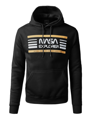 NASA Explore Welding Patched Pull Over Fashion Fleece Hoodie - BLACK