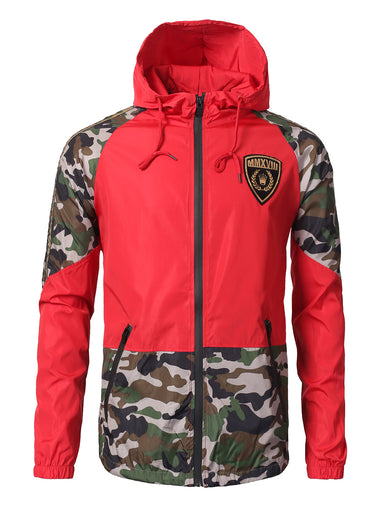 Camouflage Color Block Light Weight Windbreaker Jacket