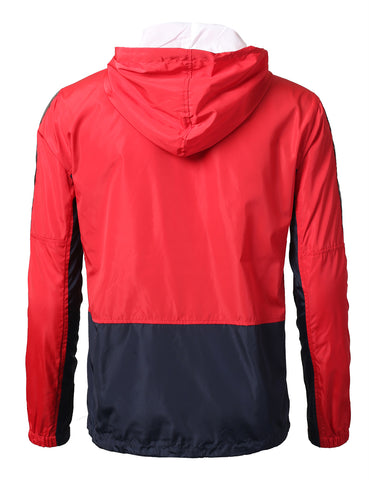 Tri-Color Block Full Zip-Up Light Weight Windbreaker Jacket