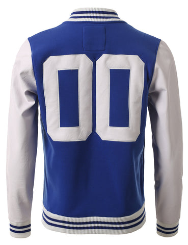 "URBANCREWS Hipster Hip-Hop Star Patch ""00"" Varsity Jacket PU Sleeve ROYAL"