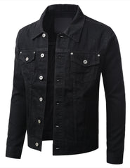 BLACK Button Down Denim Trucker Jacket - URBANCREWS