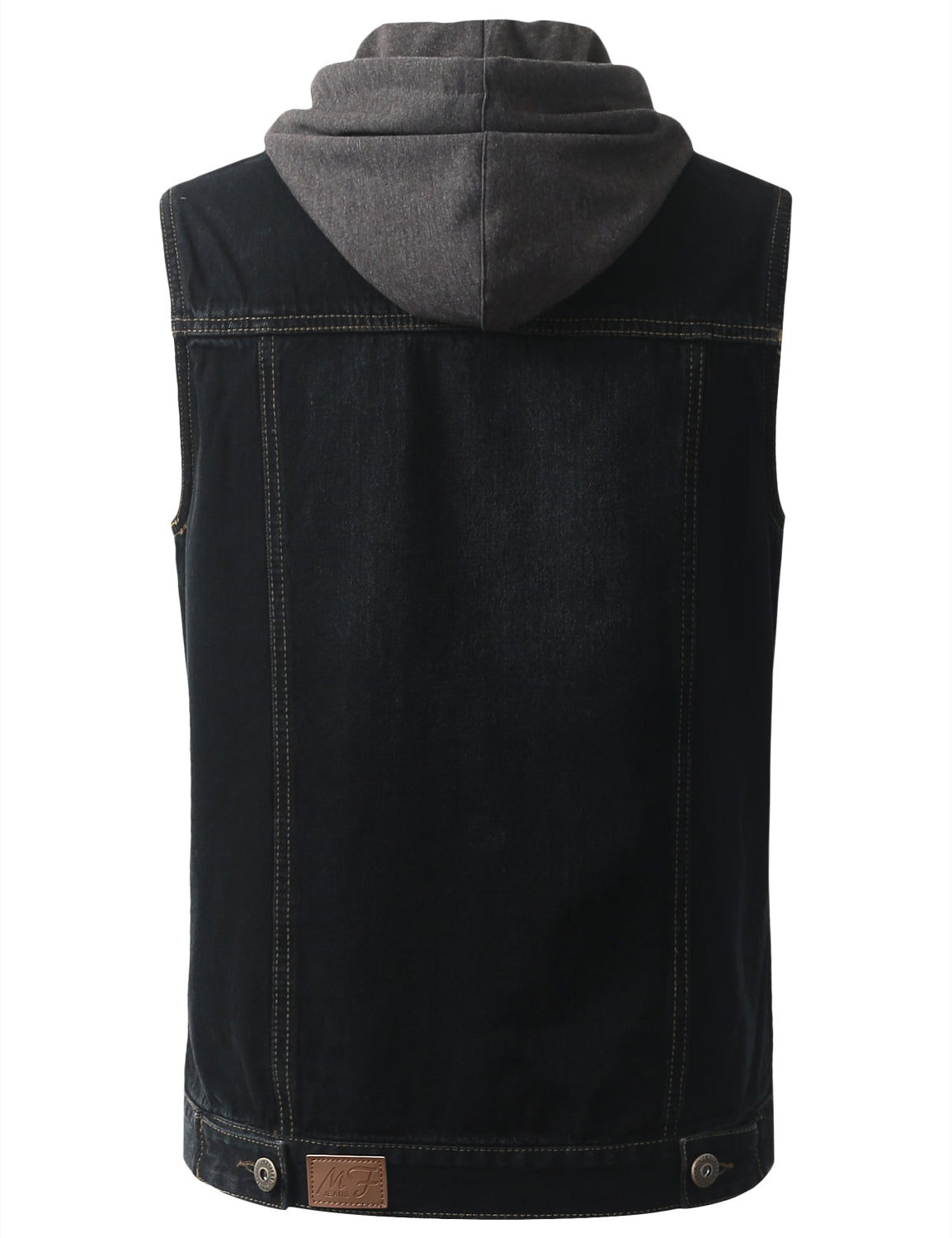 BLACK Hooded Denim Vest Jacket