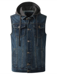INDIGO Hooded Denim Vest Jacket