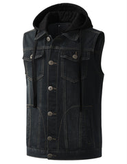 WASHEDBLACK Hooded Denim Vest Jacket