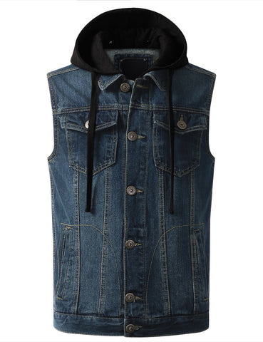 Hooded Denim Vest Jacket