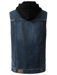 WASHEDINDIGO Hooded Denim Vest Jacket