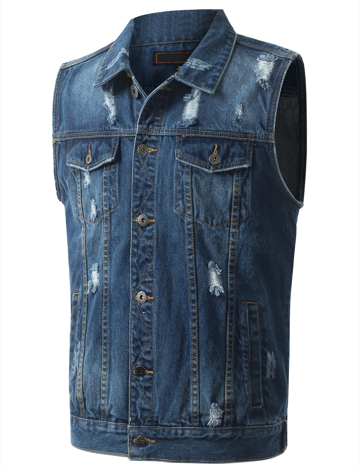 LTBLUE Distressed Medium Wash Denim Vest
