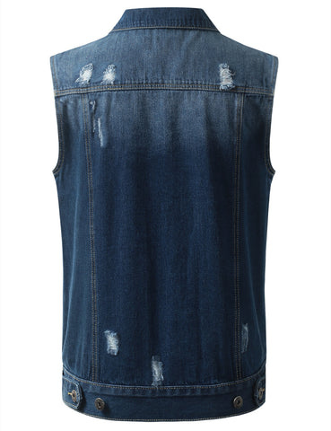 Distressed Medium Wash Denim Vest Jacket