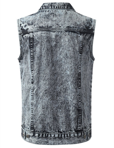 Acid Wash Denim Vest Jacket