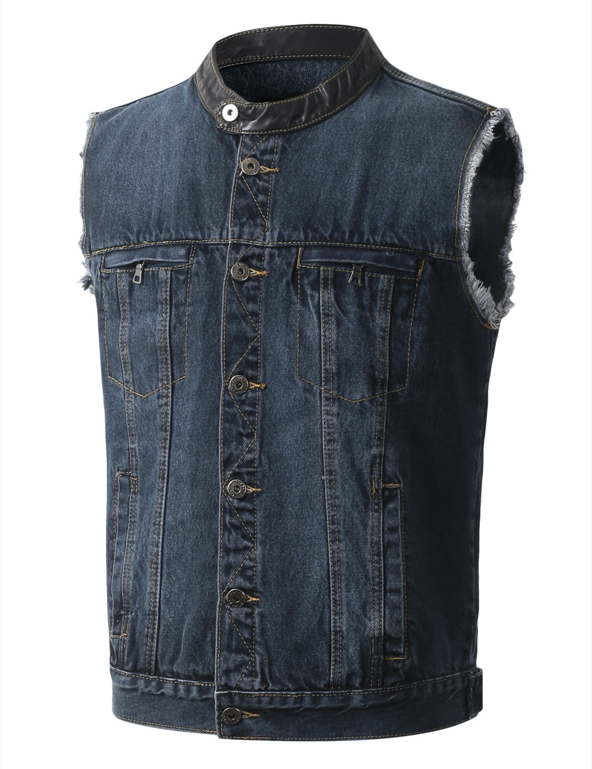 BLUE Mandarin Collar Rip Denim Vest