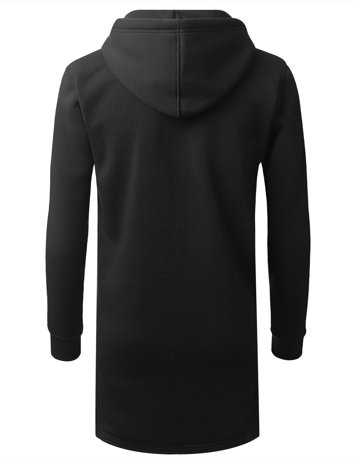 BLACK Zip Down Long Fleece Hoodie Jacket - URBANCREWS